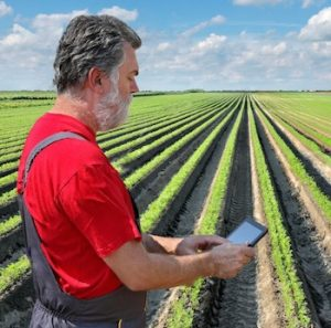Farmer using MapGage on tablet to ground truth data.